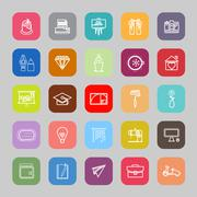 Art and creation line flat icons Stock Illustration