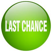 last chance green round gel isolated push button - stock illustration
