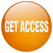 get access orange round gel isolated push button - stock illustration
