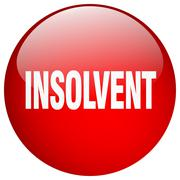 insolvent red round gel isolated push button - stock illustration
