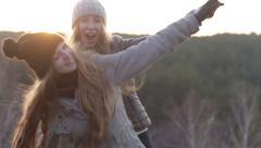 Pretty Girlfriends Hugging Fun Stock Footage