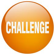 challenge orange round gel isolated push button - stock illustration