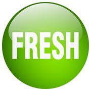 Fresh green round gel isolated push button Stock Illustration