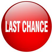 Last chance red round gel isolated push button Stock Illustration