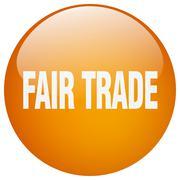 Stock Illustration of fair trade orange round gel isolated push button
