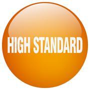 high standard orange round gel isolated push button - stock illustration