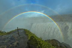 Huge Dettifoss waterfall with a double rainbow, Iceland Stock Photos