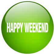 happy weekend green round gel isolated push button - stock illustration