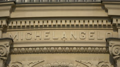 Michelangelo inscription on the Romanian Athenaeum in Bucharest - stock footage