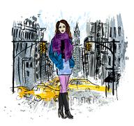 fashionable woman posing on street - stock illustration