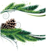 Pine branches and cones - stock illustration