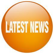 latest news orange round gel isolated push button - stock illustration