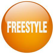 freestyle orange round gel isolated push button - stock illustration