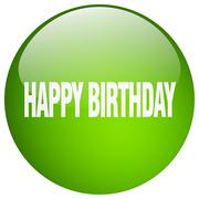 happy birthday green round gel isolated push button - stock illustration
