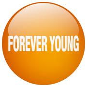 forever young orange round gel isolated push button - stock illustration