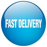 Stock Illustration of fast delivery blue round gel isolated push button