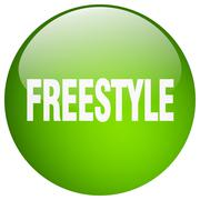 freestyle green round gel isolated push button - stock illustration