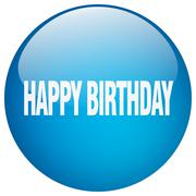 happy birthday blue round gel isolated push button - stock illustration