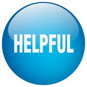 Helpful blue round gel isolated push button Stock Illustration