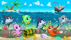 Funny marine animals in the sea with galleon - stock illustration