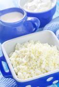 sour cream, cottage and milk - stock photo