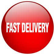 Stock Illustration of fast delivery red round gel isolated push button