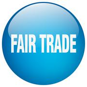 fair trade blue round gel isolated push button - stock illustration