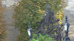 A beautiful decorated gate in Bucharest Stock Footage