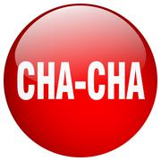 cha-cha red round gel isolated push button - stock illustration