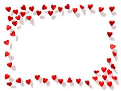 Frame with red hearts on white background - stock illustration