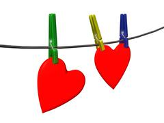 Two red hearts on pin and cord over white - stock illustration