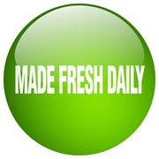 Made fresh daily green round gel isolated push button Stock Illustration