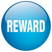 reward blue round gel isolated push button - stock illustration