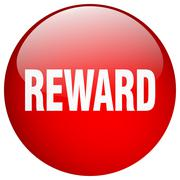 reward red round gel isolated push button - stock illustration