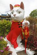 Cat sculpture Kuching city of cats Sarawak Borneo Malaysia Asia - stock photo