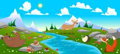 Stock Illustration of Mountain landscape with river and animals