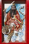 Wall decoration in the Chinese temple Tua Pek Kong Kuching Sarawak Borneo - stock photo