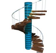 Isolated stairway with blue glass and wood - stock illustration