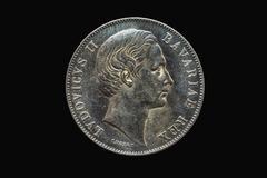 Stock Photo of Marientaler Ludwig II 1860 silver coin Bavaria German Confederation