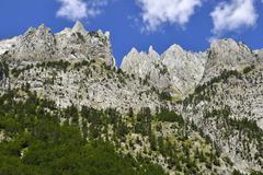 Mountain view from Runica Ropojana valley Theth Thethi National Park Albanian Stock Photos