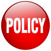policy red round gel isolated push button - stock illustration
