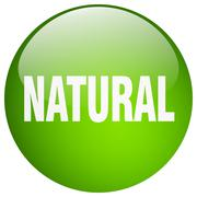 Natural green round gel isolated push button Piirros