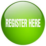 Stock Illustration of register here green round gel isolated push button