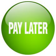 pay later green round gel isolated push button - stock illustration