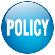 policy blue round gel isolated push button - stock illustration