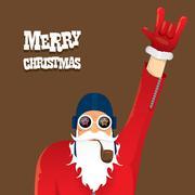 vector biker santa claus with smoking pipe - stock illustration