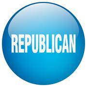 Republican blue round gel isolated push button Stock Illustration