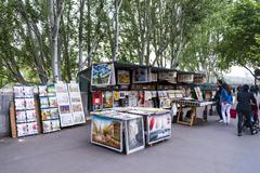 Stock Photo of Stalls booksellers along the Seine cultural mile Paris IledeFrance France