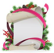 Scroll paper with ribbon and spruce branches Stock Illustration