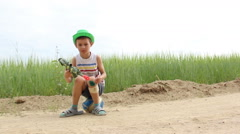 boy with a broken knee tired, put the ball and got it - stock footage